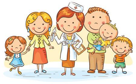 49193609-stock-vector-family-doctor-with-her-patients-parents-and-three-kids