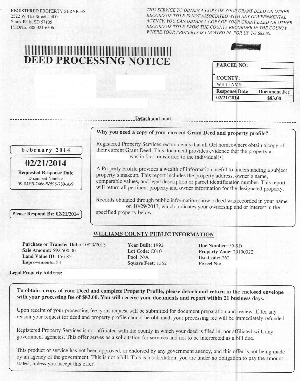 Deed Processing Notice